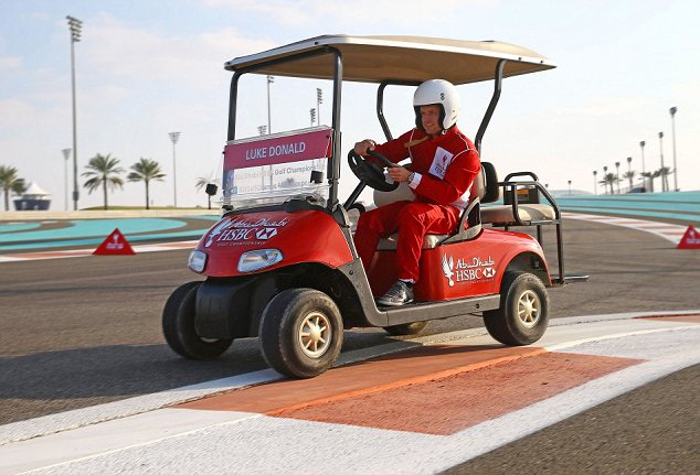 Luke out: Donald races around the Yas Marina Circuit in Abu Dhabi