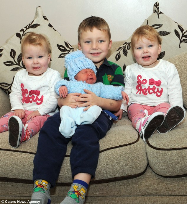 New baby Ryan shares his birthday with his five-year-old brother Sam, and his two-year-old twin sisters Brooke and Nicole