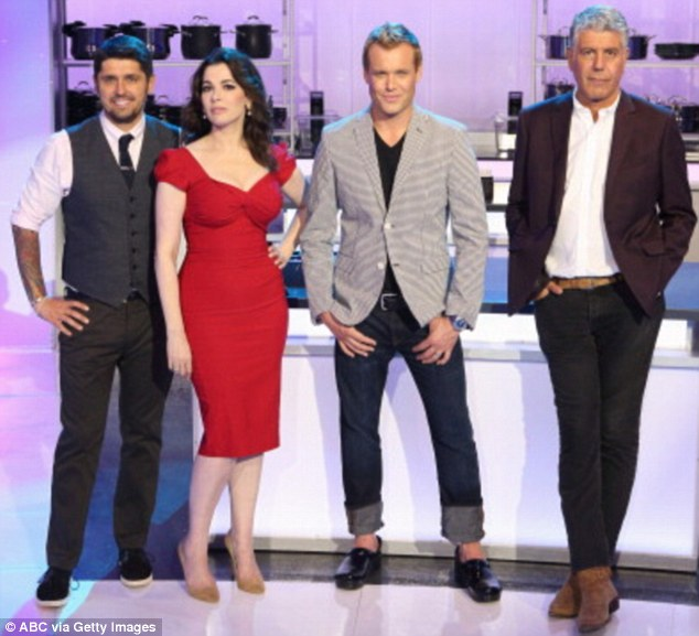 Clobbered by her rolling pin: The cook's rivals Ludovic Lefebvre  Brian Malarkey and Anthony Bourdain were left in Nigella's wake