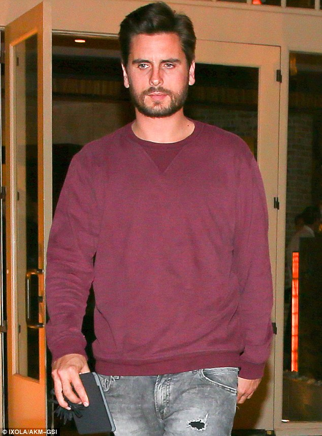 Exhausted: The grieving reality television personality looked tired as he left the eatery in posh Calabasas