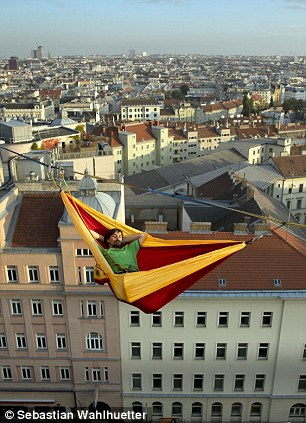 The rather roomy hammock is of Scotland's own design, and specially made for this event