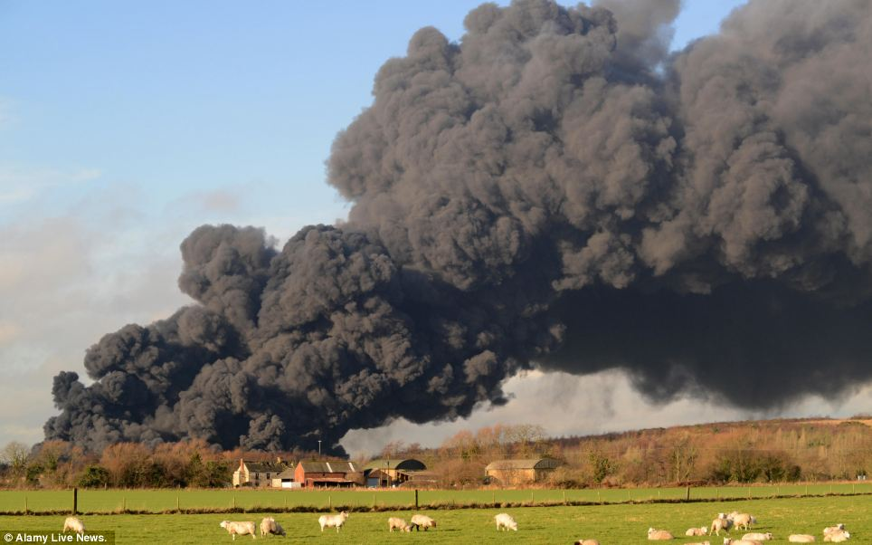 These smoke flames were seen coming from a tyre recycling plant in Sherburn in Elmet, North Yorkshire, after 15,000 tonnes of material caught alight