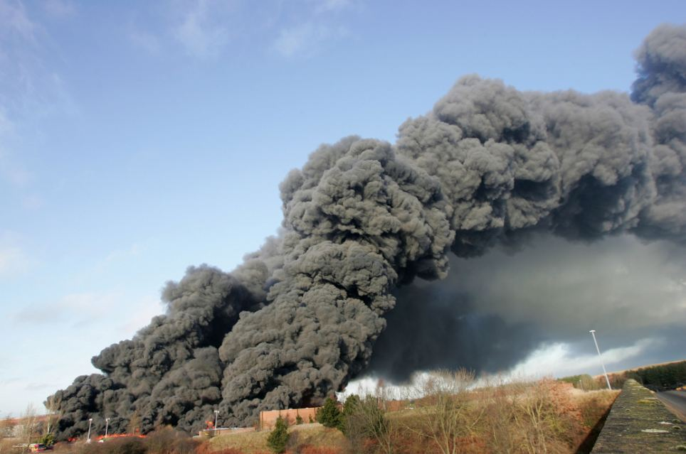 The fire involving 15,000 tonnes of material, including tyres, has blanketed York in plumes of black smoke which have reached heights of up to 6,000ft