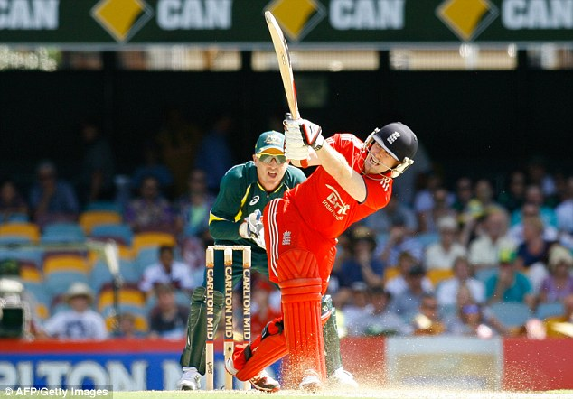 Bang! Eoin Morgan hit six sixes on his way to a stunning century off 99 balls during the second ODI