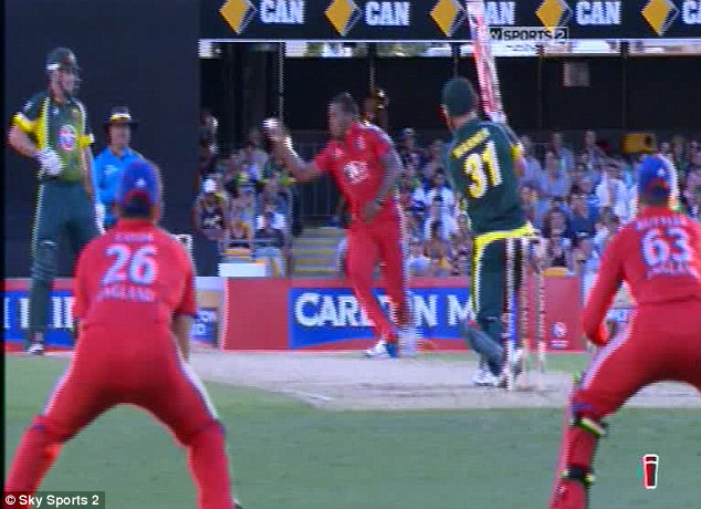 It's stuck! The ball stays in Jordan's hand and Warner has to go