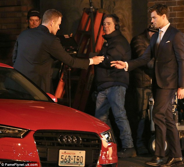 Just a glimpse! The 'submissive special' that Christian gives to Anastasia could be seen in front of Dakota and Jamie as they filmed