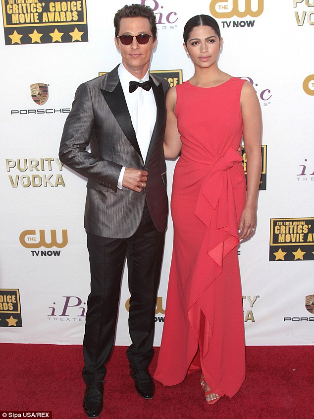 Adorable couple: Matthew attended the event with his stunning Brazilian wife Camila Alves