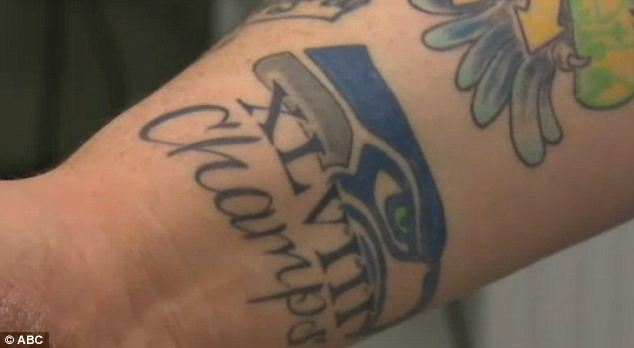 Counting his chickens? One Seattle Seahawks fan was celebrating his team's Super Bowl win - before the season even started