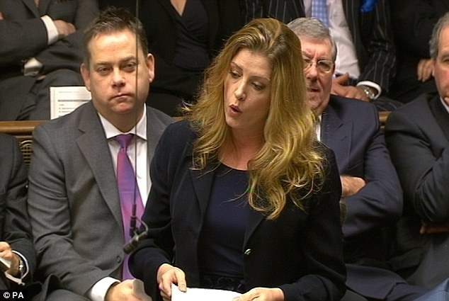 Pictured at Prime Minister's Questions, Penny Mordaunt has been voted one of the Commons' sexiest MPs