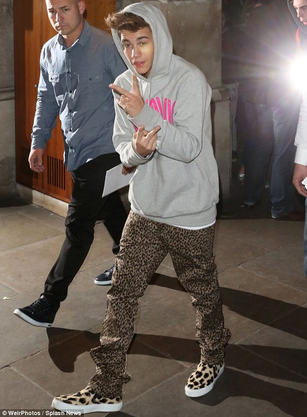 Bad boy: The 19-year-old's mansion was raided after he allegedly pelted a neighbour's house with eggs. Justin is pictured here in March