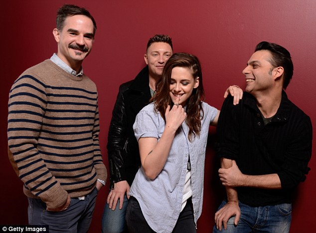 Strike a pose: The actress poses with director Peter Sattler and actors Lane Garrison and Payman Maadi
