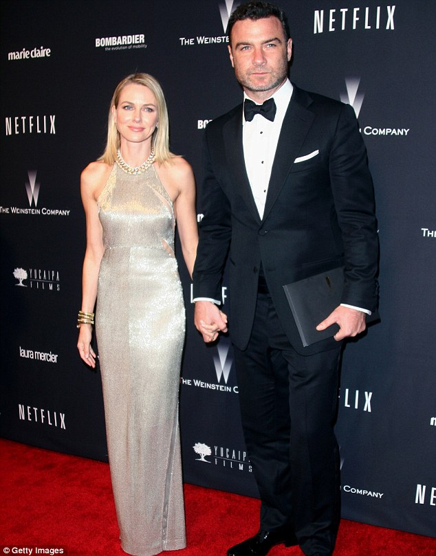Golden couple: Naomi Watts and her nominated husband Liev Schreiber attended the Golden Globe Awards this week