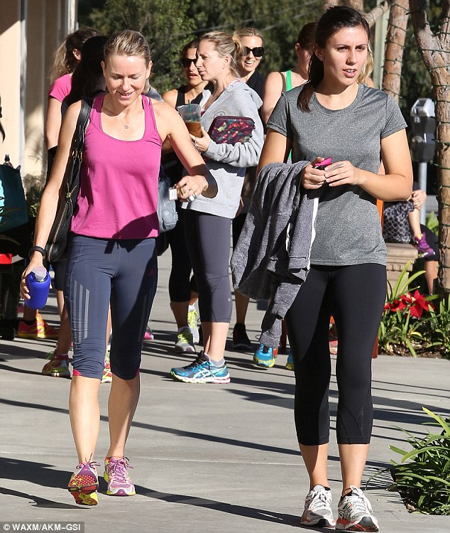Gym buddies: Naomi Watts was joined by a brunette friend for their Friday workout session