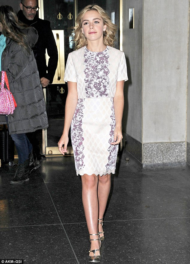 Ready for her close up: Kiernan Shipka stepped out in New York on Friday looking very stylish