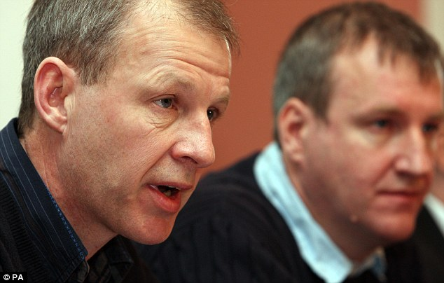Anger: Rory Gray (right) and his brother Stuart (left) disrupted a speech he was giving at a conference on plastic surgery in the German town of Lindau in 2010, calling him a 'charlatan and killer.'