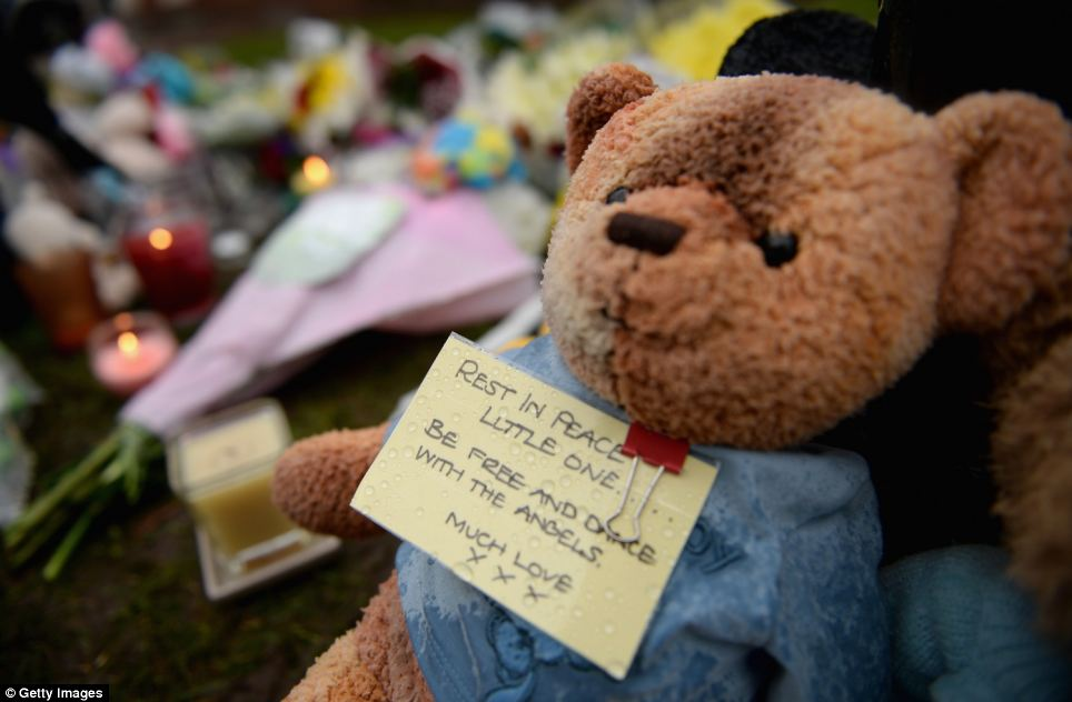 A teddy left in outside the Kular family home with a tribute that reads 'Rest in Peace little one. Be free and dance with the angels'