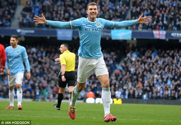All smiles: Dzeko's opener set Man City on their way to their eleventh home victory of the season