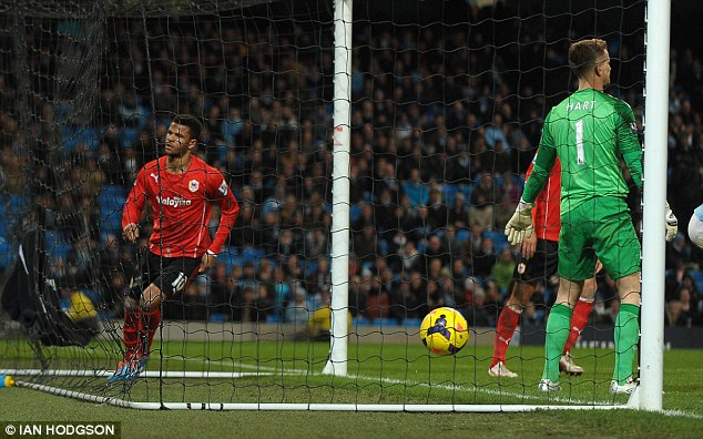 Back of the net: Frontman Fraizer Campbell scored a late consolation for Cardiff during injury time