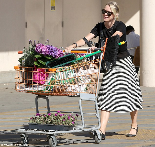 Flower girl: Naomi Watts picked up two carts of flowers and soil in Culver City, LA, to landscape her yard