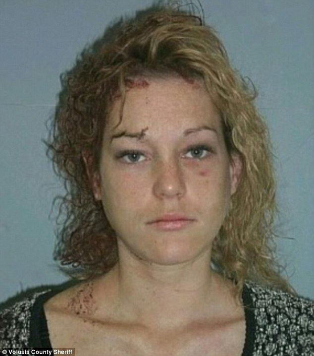 Familiar face: Sarah Wulchak, 34, has been arrested 23 times since 2003. This is one of her first mugshots, taken on October 27, 2003