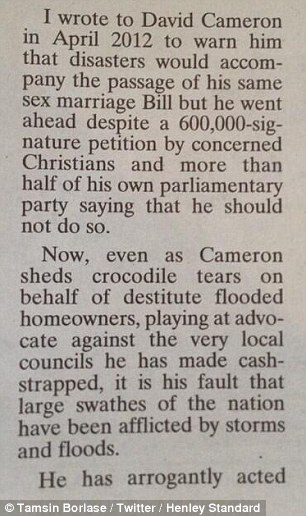 Pestilence: Part of the letter in the Henley Standard, claiming recent floods were godly vengeance