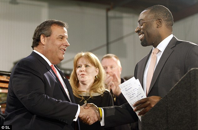 Claims: Chris Christie with Community Affairs Commissioner Richard Constable, who allegedly leaned on Dawn Zimmer to support a project in return for more Sandy aid