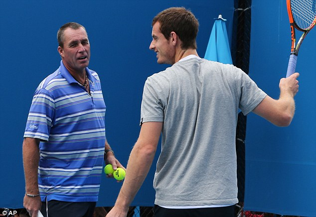 Ivan the terrible: Murray prepares for his fourth round match with coach Lendl (left)