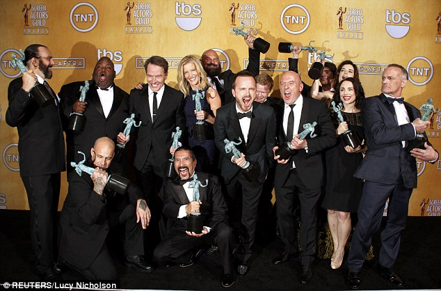 'We are the luckiest people in the world!' The Breaking Bad players beat out Downton Abbey, Boardwalk Empire, Game of Thrones, and Homeland for the honor
