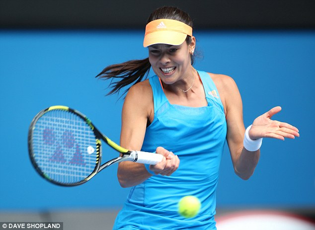Elegant: The Serb works a forehand back as she looks to get a grip on the match