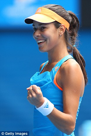 Stunning win: Ivanovic pumps her fist after winning another rally against the American