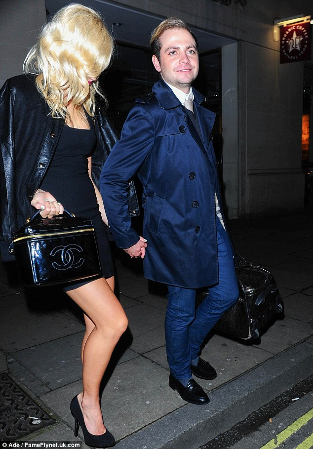 Birthday boy: The singer was out in London to celebrate her brother getting a year older