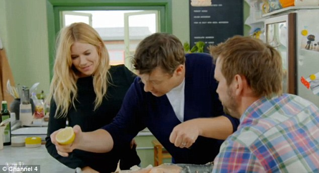 Italian feast: The actress received some one-to-one guidance on how to cook her favourite dish Tuscan duck ragu during the Channel 4 show