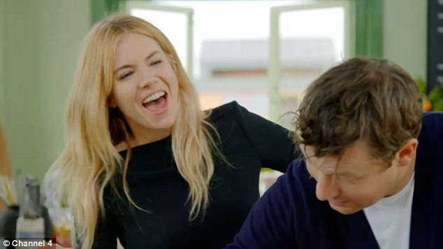 Having a ball: Jamie is later seen putting his arms around Sienna in order to teach her how to mix the pasta effectively