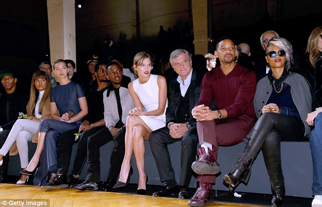 Much more composed: The actor was joined by Arizona Muse, Kendrick Lamar and Karlie Kloss at the Tennis Club de Paris