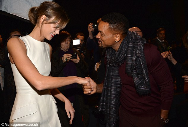 It's an honour! The 45-year-old actor looked incredibly pleased to meet the supermodel when they shook hands