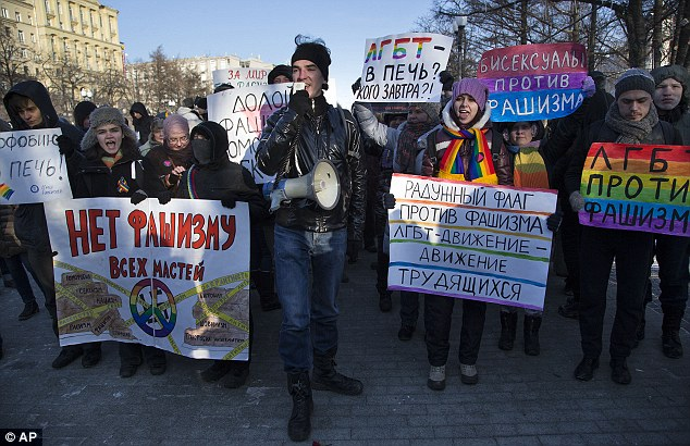 Protests: Gay rights activists march through Moscow condemning homophobia and 'fascism'