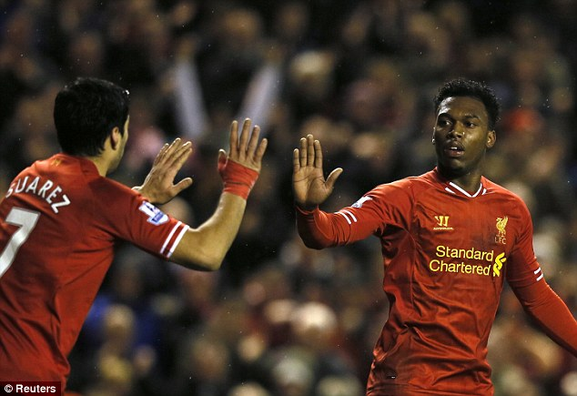Double act: Luis Suarez (L) and Daniel Sturridge combined well to earn a 2-2 draw with Aston Villa