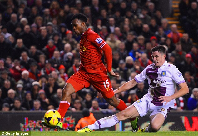 Red hot! Sturridge scored to bring the tally in his partnership with Suarez to 18 in nine leage games