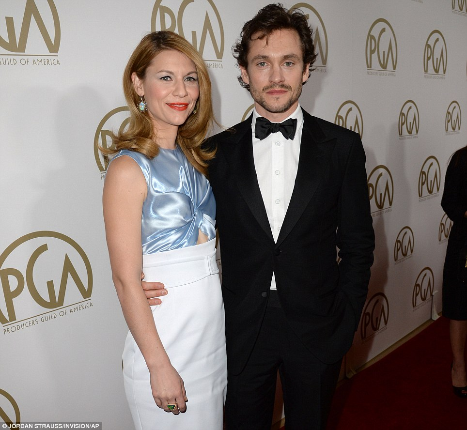 Happy couple: The Homeland star and her husband Hugh Dancy are having an award show weekend, having attended the SAG awards on Saturday night
