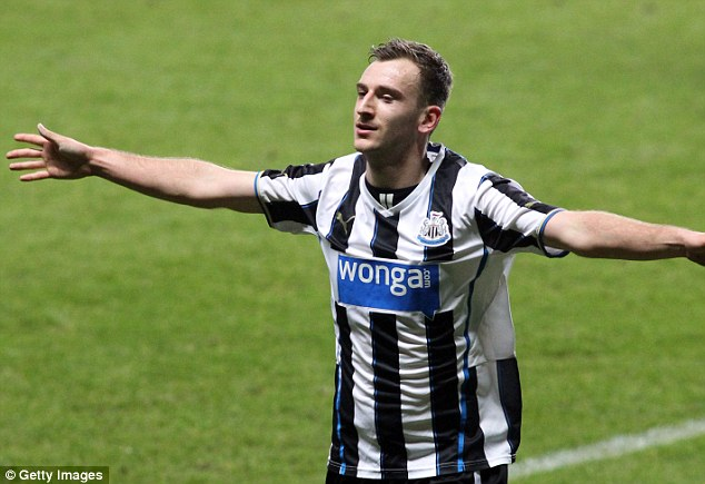 Angel of the north: Jonathyn Quinn celebrates his hat-trick as Newcastle beat Sunderland in FA Youth Cup