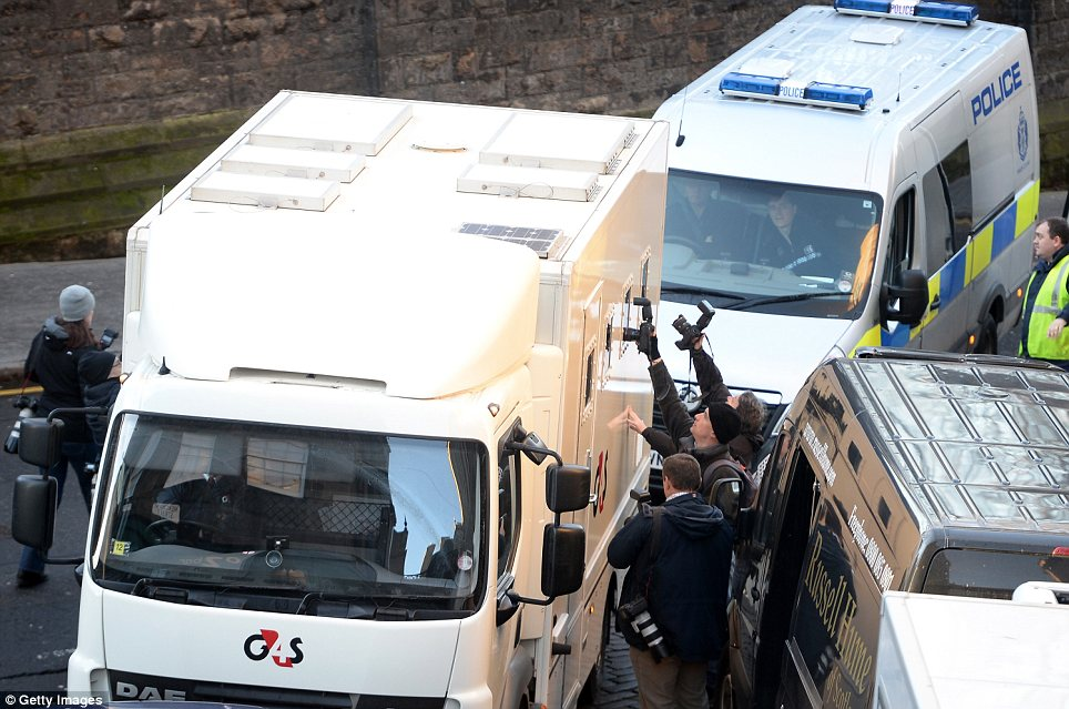 Outside court: A prison van arrives at Edinburgh Sheriff Court today ahead of Miss Kular's initial hearing