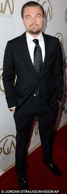 Dapper: DiCaprio sported black suit and tie