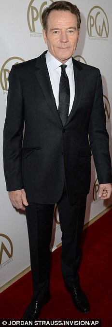 Dapper: DiCaprio and Bryan Cranston sported black suit and ties