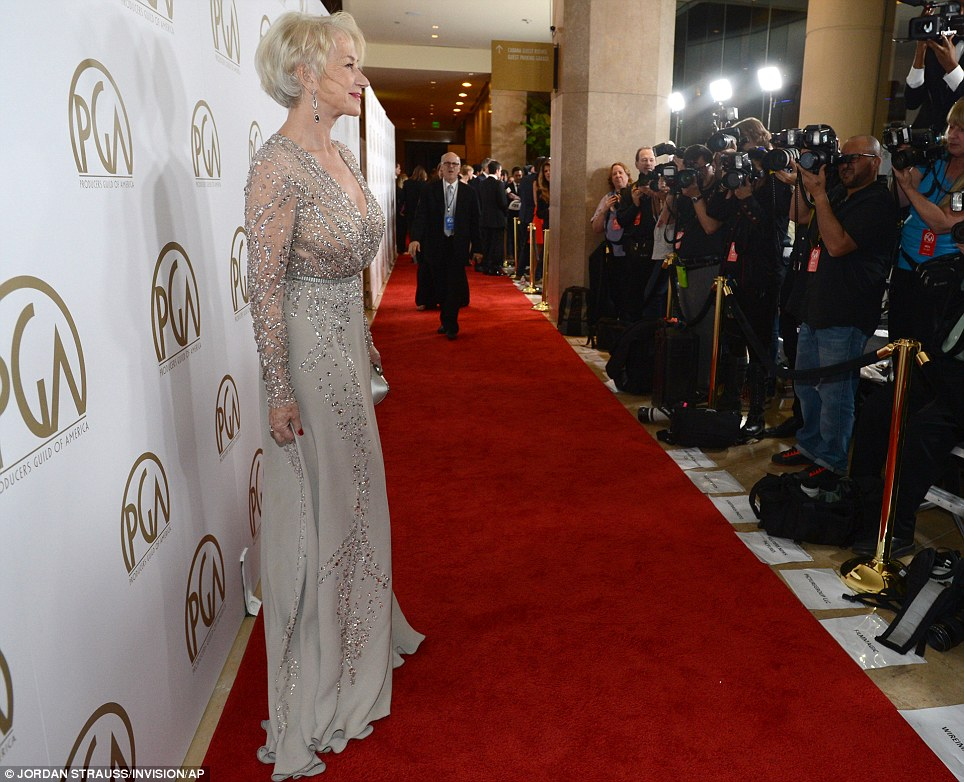 So classy: The Oscar-winning star showed off her stunning figure in the beautiful dress
