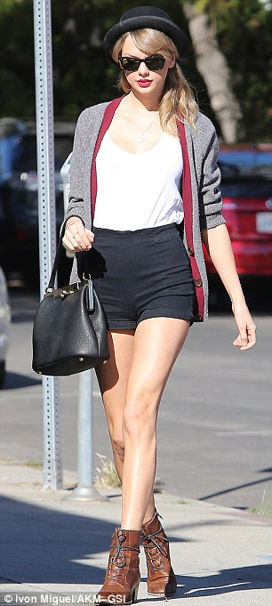 Pin parade:  The You Belong With Me singer strutted down Melrose avenue in a pair of high-waisted black tap shorts on Thursday