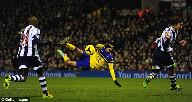 Scissor kick: Kevin Mirallas of Everton attempts a spectacular shot in the second-half