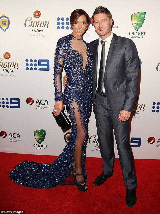 Sporting couple: Kyly with her husband Michael, winner of Test Player of the Year award