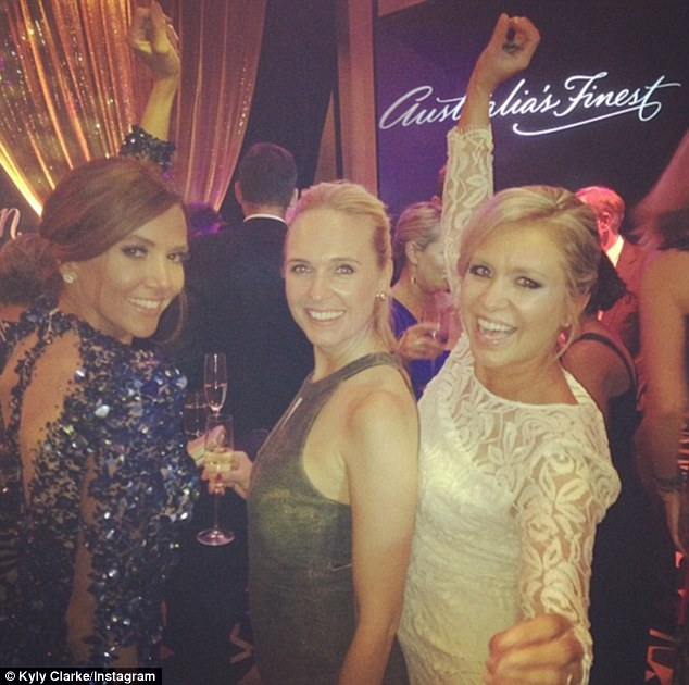 Party pals: Dancing the night away with fellow WAG Candice Falzon and TV presenter Virginia Lette