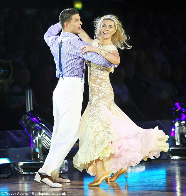 Winning smile: Abbey shimmies across the dance floor with partner Aljaz Skorjanec