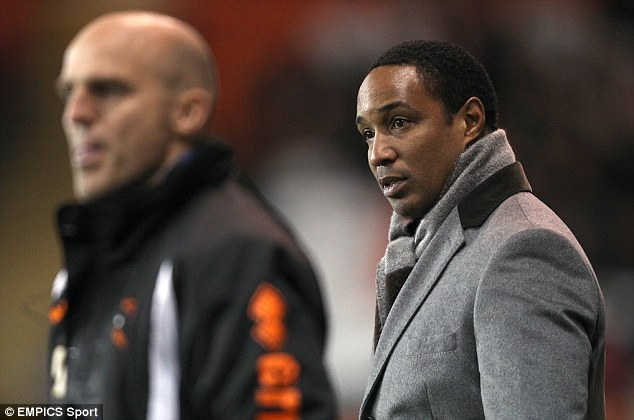 Packing their bags: Ince and assistants Alex Rae, left, and Steve Thompson have been sacked by Blackpool